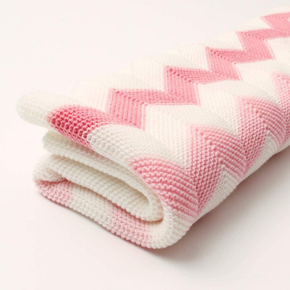 Pink Waves Kingpo Childrens Rhombic Knit Blanket Baby Wave Knit Blanket Suitable for Boys and Girls All Seasons Available