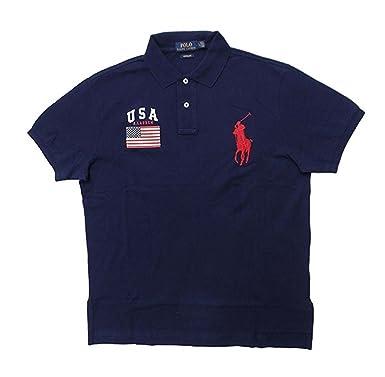 Polo Ralph Lauren Men\u0027s Custom Fit Big Pony USA Flag Polo Shirt at Amazon  Men\u0027s Clothing store: