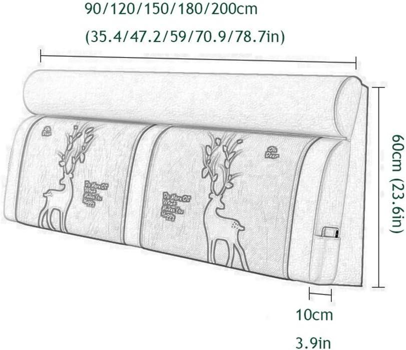 Lgan Bett R/ückenpolster Color : A noboard, Size : 90CM Kopfteil Kissen St/ützkissen Gro/ßer Sofa R/ückenlehne Lendenkissen Waschbar Sackleinen