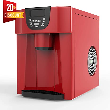 Ready in 6min Produces 36 lbs Ice in 24 Hours KUPPET 2 in 1 Countertop Ice Maker Water Dispenser Red LED Display