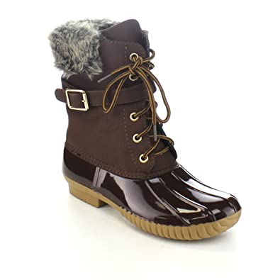 Womens Dylan-7 Lace Up Buckle Strap Ankle Rain or Snow Duck Boot