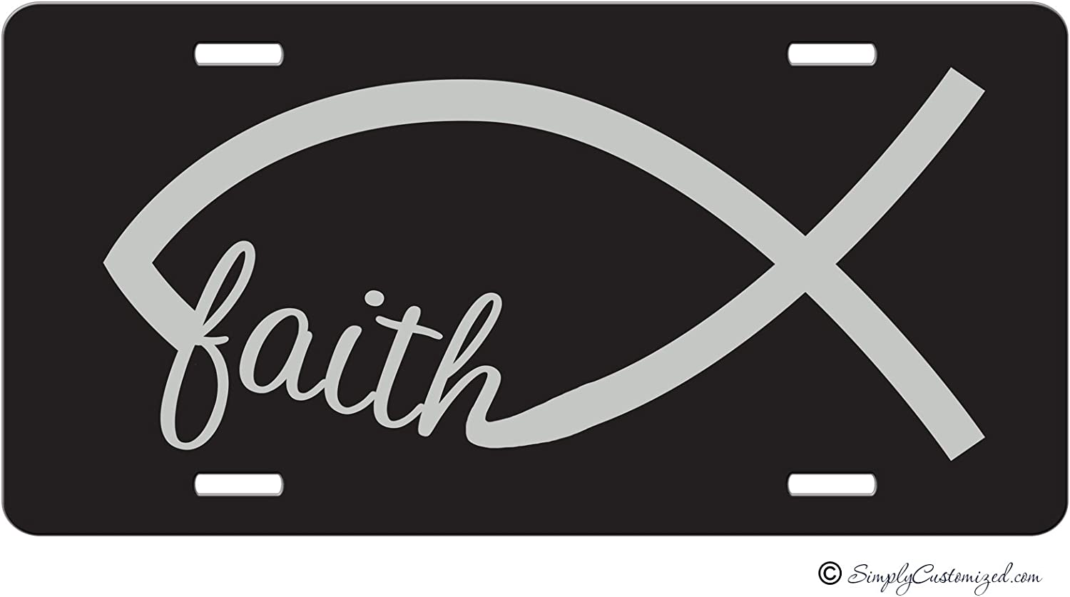Simply Customized Christian License Plate, Christian Front Car Tag, Christian Front License Plate, Christian Decorative License Plate, Faith Jesus Fish Vanity NPLP