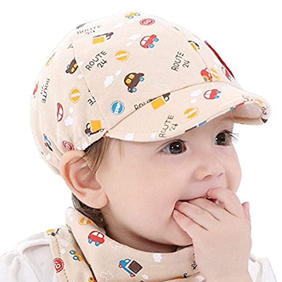 0a45afe9d2451 Ziory 1Pcs Beige Khaki Baby Kid Boy Girl Snapback Cartoon printing Toddler  Infant Hat Little Car Baseball Beret Cap Baby girls and Baby boys   Amazon.in  ...