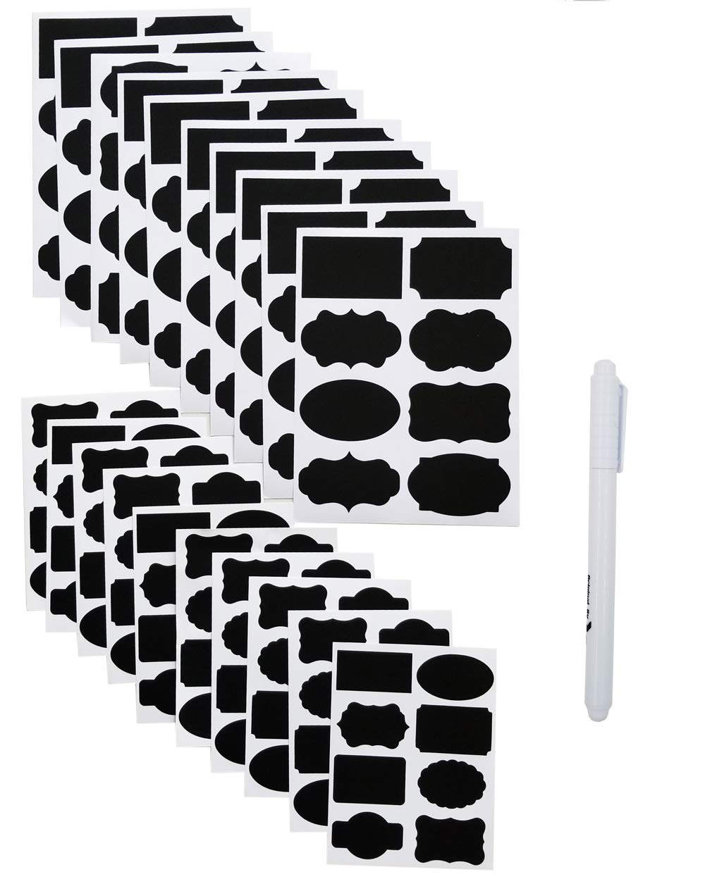 160 PCS Chalkboard Labels, Sackorange Pantry Stickers for JARS,Mason, Spice, Glass and Canisters, Large Reusable Waterproof Blackboard Vinyl Set, Dishwasher Safe with White Chalk Marker