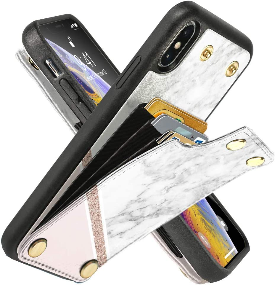 LAMEEKU Wallet Case for iPhone Xs Max 6.5'', Shockproof Phone Granite Case with Credit Card Holder Slot Money Pocket, Protective Bumper Cover Compatible with iPhone Xs Max - White & Pink Marble