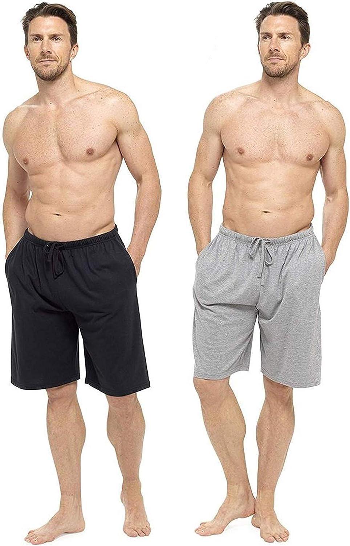 CityComfort Conjunto De Pijamas Hombres, Paquete Doble | Dos Pantalones Cortos De Algodón con Cintura Elástica | Suaves Y Cómodos, Pijamas para Hombres, Ropa De Dormir O De Salón