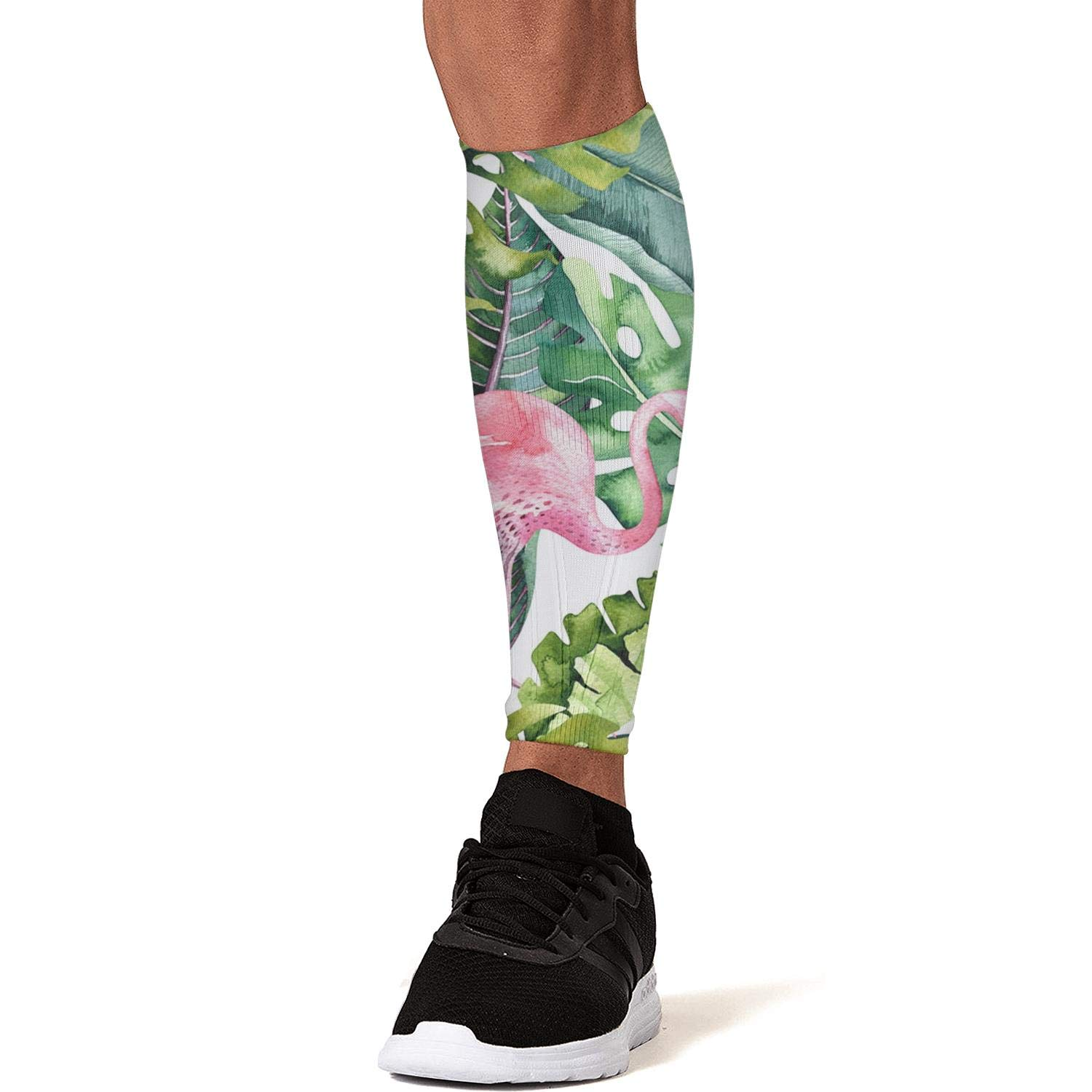 Smilelolly Flamingo Tropical Banana Palm Leaf Calf Compression Sleeves Helps Faster Recovery Leg Sleeves for Men Women