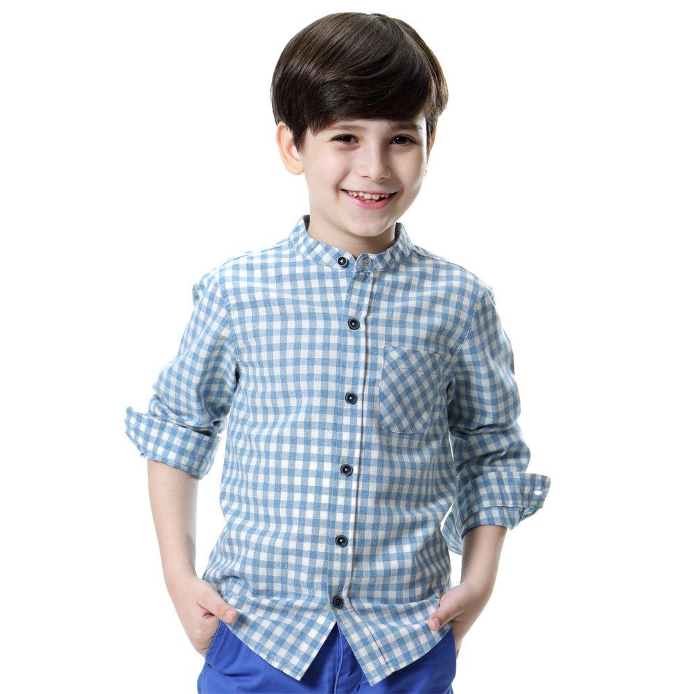 KID1234 Junge Baumwolle Langarm Kariertes Hemd