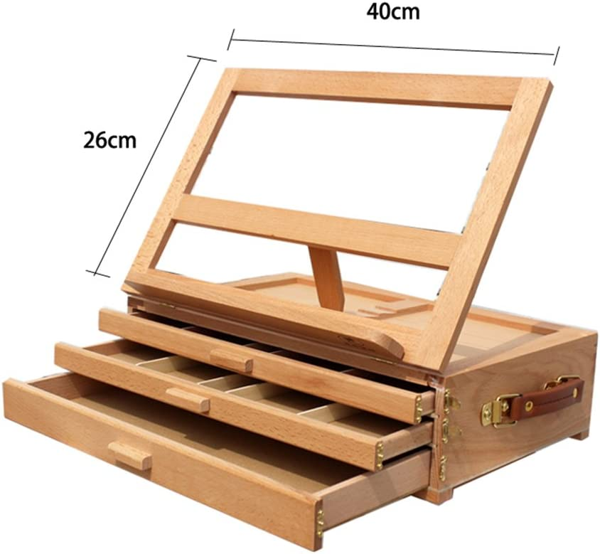 Wood Sketchbox Easel 4 Adjustable Gears Artist Easel with Storage Drawer 1 Layer Drawer Kuyal Adjustable Tabletop Easel