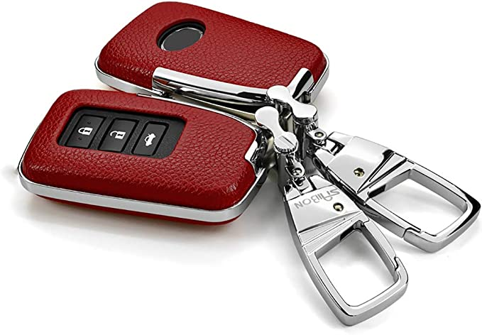 ontto Key Fob Cover Case Shell Jacket Protector Prevent Falls Scratch Keychain Key Ring Fit for Lexus NX GS RX is ES GX LX RC Red