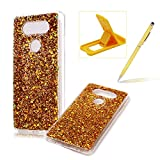 Rubber TPU Case For LG V20,Herzzer Slim Lightweight Color Changing Glittering Luxury Unique [Gold Sequins] Bling Shiny Sparkle Soft Silicone Gel Clear Bumper Frame Cover for LG V20