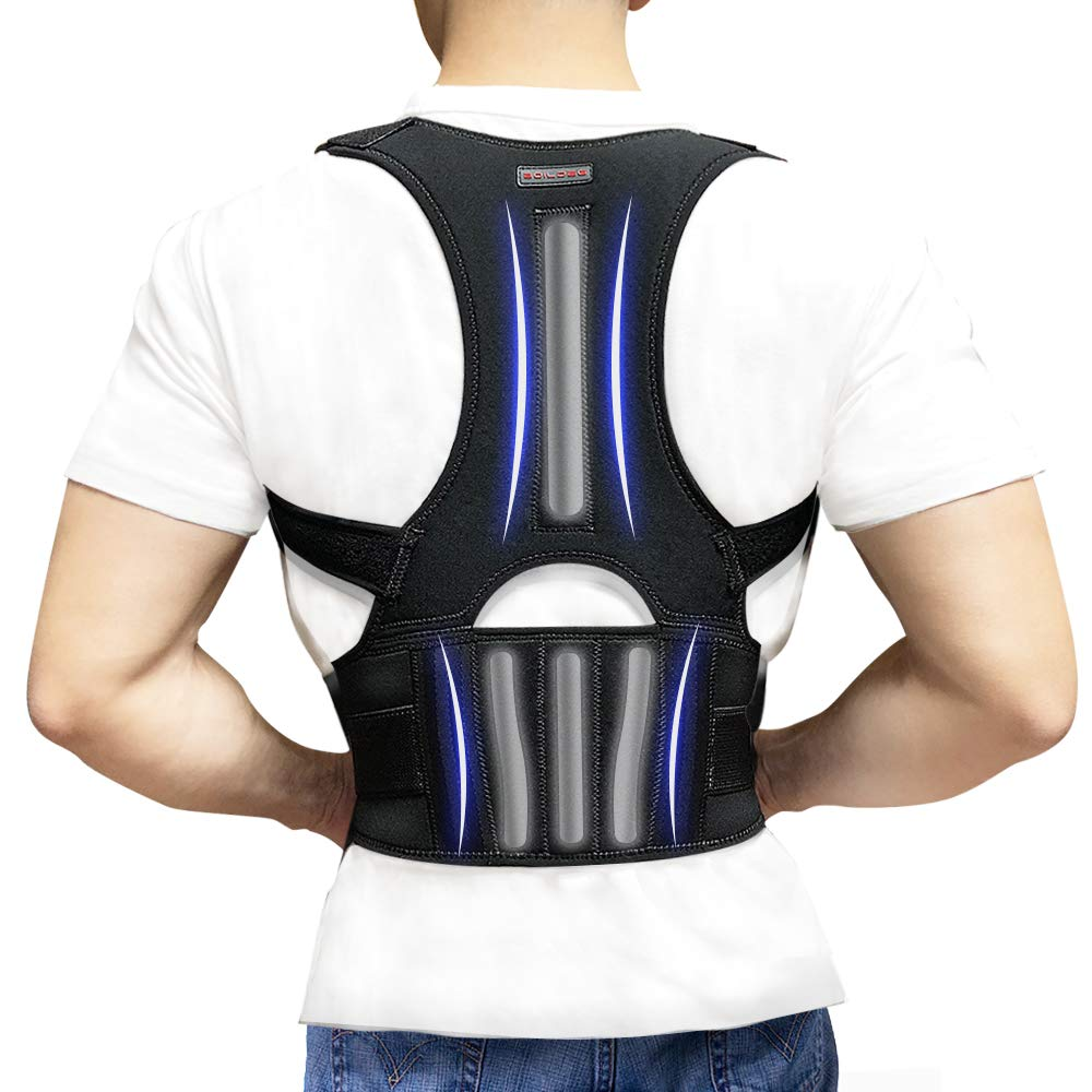 Back Brace Posture Corrector - Back Support Belt with Fully Adjustable Straps Relief Lower & Upper Back Pain, Improve Posture & Provides Lumbar Support - Fit for Men & Women L(30''-36''Waist) by SYOSIN