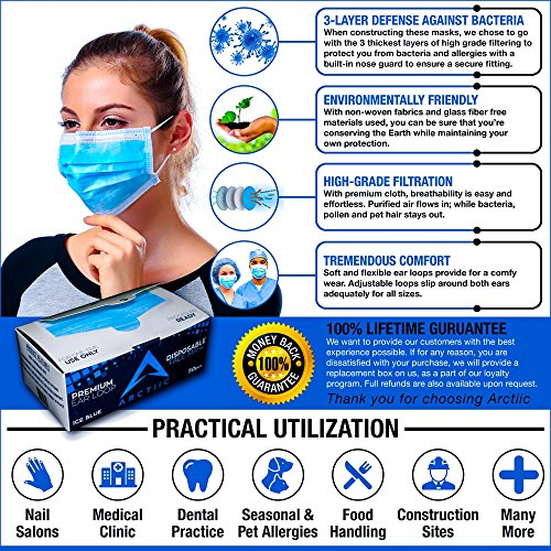 Arctiic 50 pc Surgical Earloop Disposable Medical Face Masks