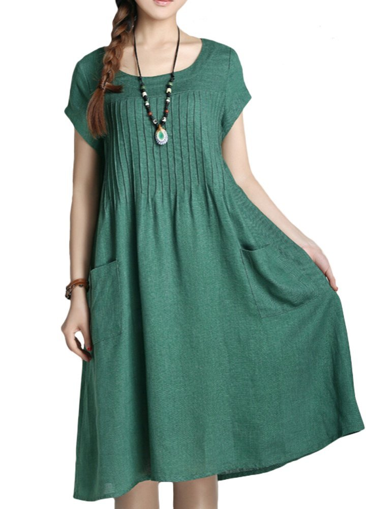 Minibee Women's Summer Solid Color Dress with Two Pockets Style 1 Green XL by Minibee