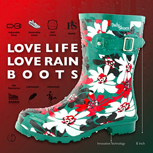 DailyShoes Damen Mittelkalb Schnalle Ankle High Hunter Regen Round Toe Rainboots G-Blumen