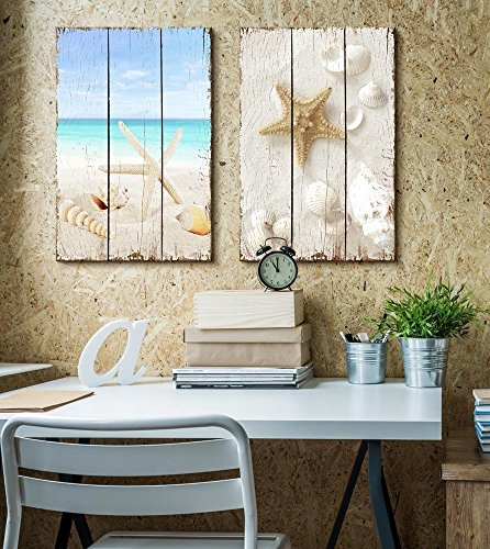 Relaxing Photo of a Beach Scene Paired With Sea Life on the Sand Placed on a Wooden Background