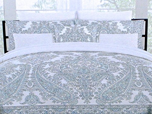 (Max Studio Luxurious Designer Bedding 3 Piece Cotton Duvet Cover Set - Paisley & Floral Pattern in Shades of Blue on White (King))