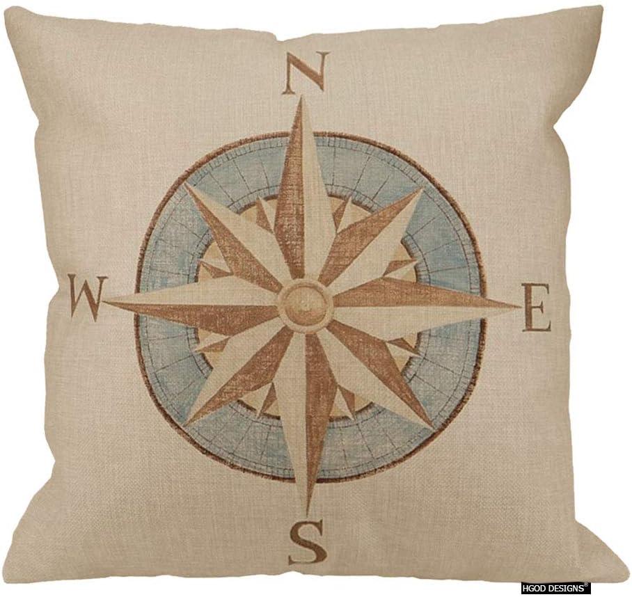 HGOD DESIGNS Nautical Compass Pillow Sofa Simple Home Decor Design Throw Pillow Case Decor Cushion Covers Square 18 X 18 Inches