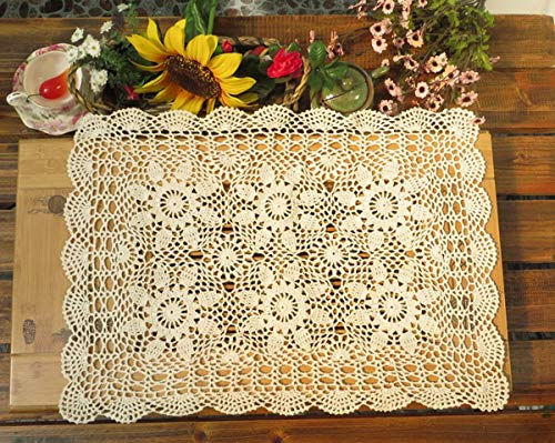 - Damanni Rectangular Cotton Handmade Crochet Lace Table Runner Doilies Table Dresser Scarf Décor,16 Inch by 24 Inch,Beige