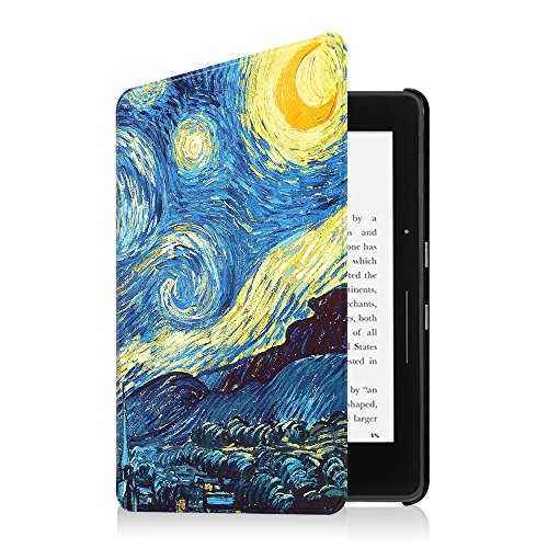 Fintie Case for Kindle Voyage - [The Thinnest and Lightest] Protective PU Leather Slim Shell Cover with Auto Sleep / Wake for Amazon Kindle Voyage (2014), Starry Night by Fintie (Image #4)
