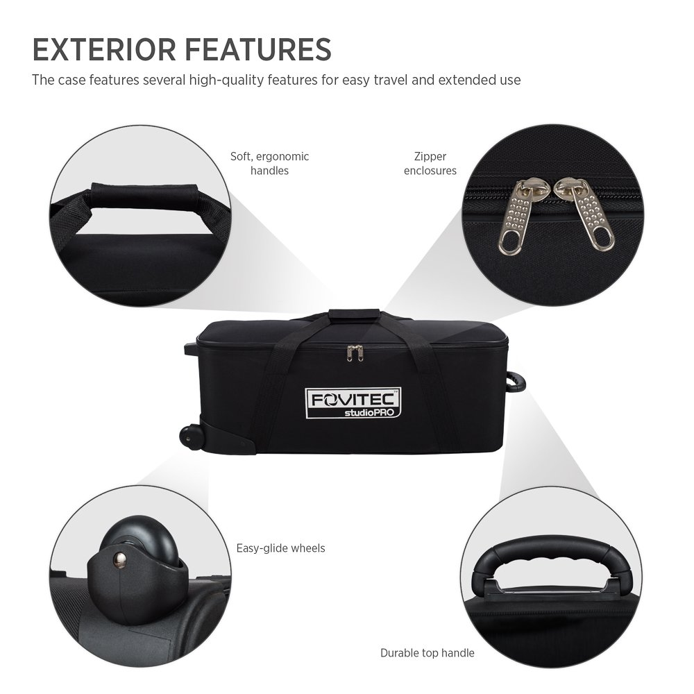 Fovitec - 1x Classic Photography & Video Lighting Equipment Roller Bag - [32'' x 11''x 11''][EZ Glide Wheels][Durable Nylon][Fleece Lining] by Fovitec (Image #4)