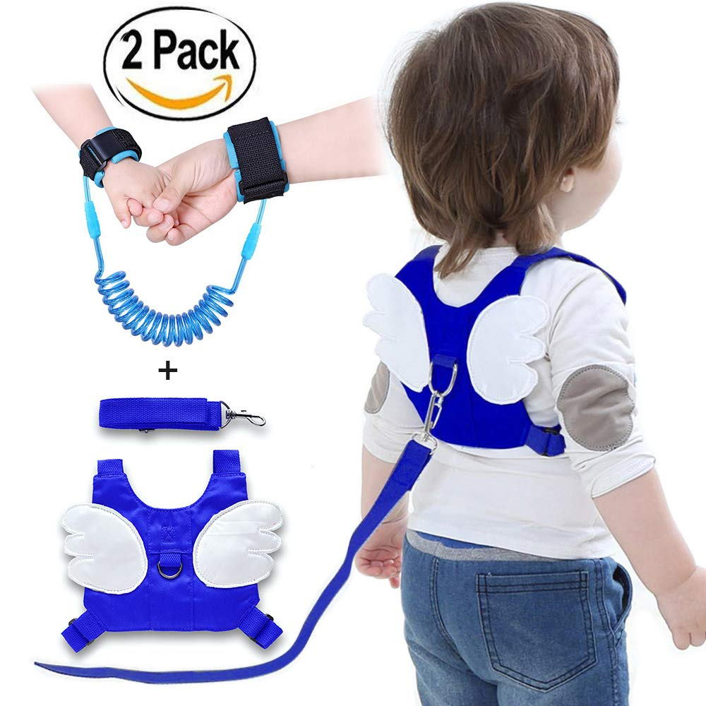 2PCS Anti Lost Wrist Link, Baby Children Safety Belt, Anti Lost Backpack,Toddler Harness Walking Leash, Baby Harness Assistant,Harness Leash Backpack Cute Angel Style for Children Learning Walking UESO