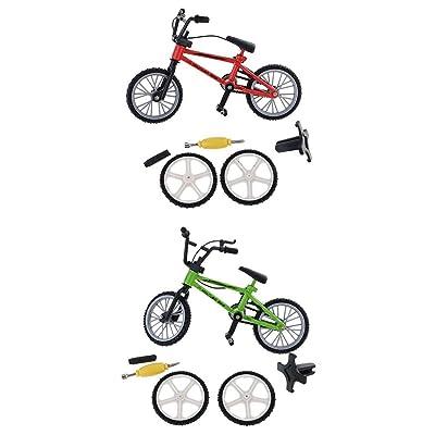 Baoblaze 2 Kits Mini Vélo Modèle Pneu de Secours Jouet à Doigt en Métal Décoration Maison Bureau - Rouge + Vert