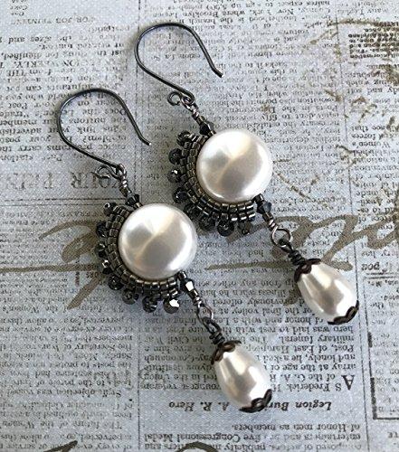 Swarovski Pearl & Crystal Dangle Earrings Gunmetal Ear-wires Wedding ()