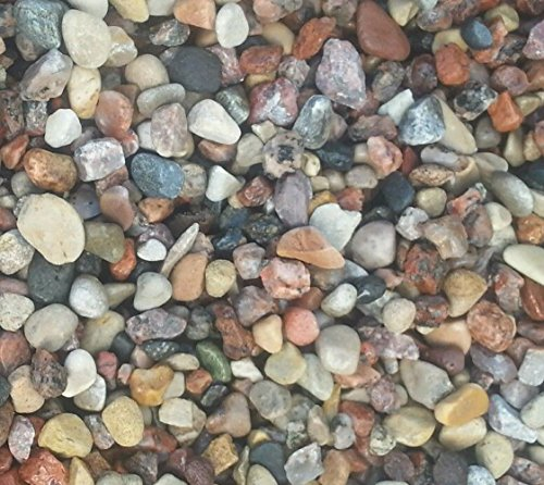 Rock Natural River - Safe & Non-Toxic {Various Sizes} 30 Pound Bag of Prewashed Gravel, Rocks & Pebbles Decor for Freshwater & Saltwater Aquarium w/ Natural Smooth River Inspired Rustic Earth Toned Style [Tan, Red & Gray]