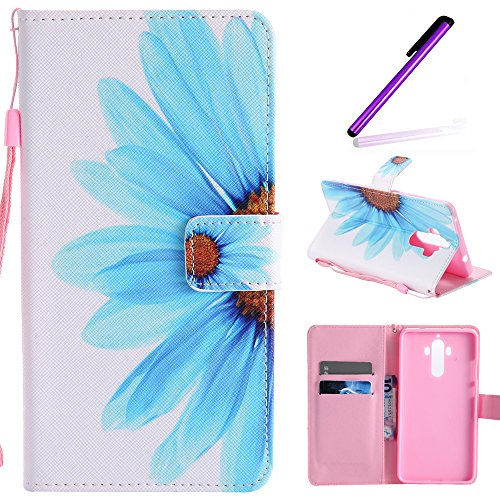- Mate 9 Case, LEECOCO Fancy Paint Design Wallet Case with Card Slots Shockproof Colorful Floral PU Leather Flip Stand Magnetic Case Cover for Huawei Mate 9 with 1 Stylus Pen,Sky Blue Sunflower