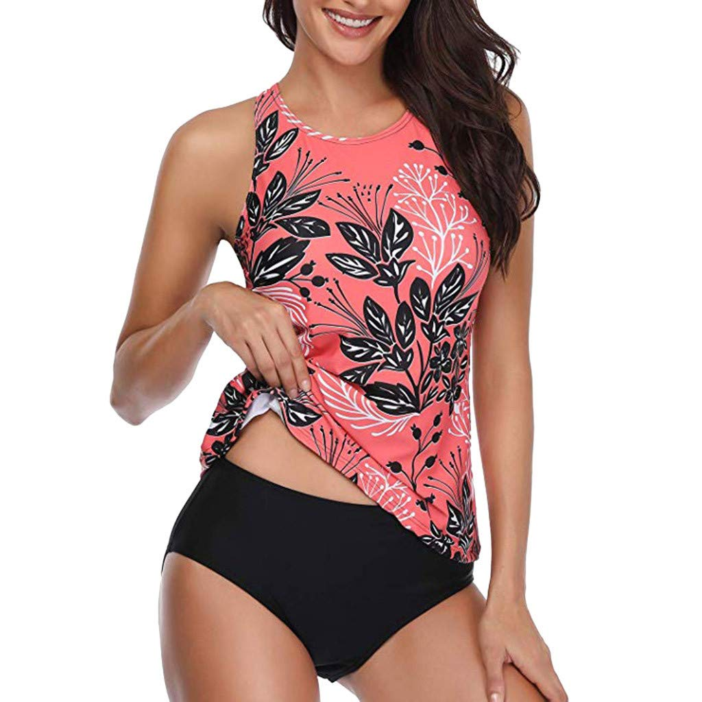 Womens Plus Size Stripes Lined up Top Sets Halter Floral Printed Swimwear Red