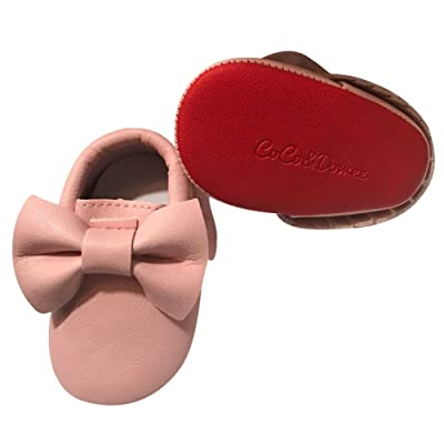 Baby Girls Pink Red Tassel Bow Soft Sole Faux Leather Crib Shoes 3-18M