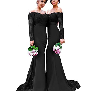c1514f79e338 Image Unavailable. Image not available for. Color: Fair Lady Burgundy Lace  Prom Dress Mermaid Long Bridesmaid Dresses Off Shoulder Long Sleeve ...