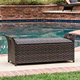 Multi-tone Brown Wicker Fully Assembled Outdoor Backless Storage Patio Bench Ottoman