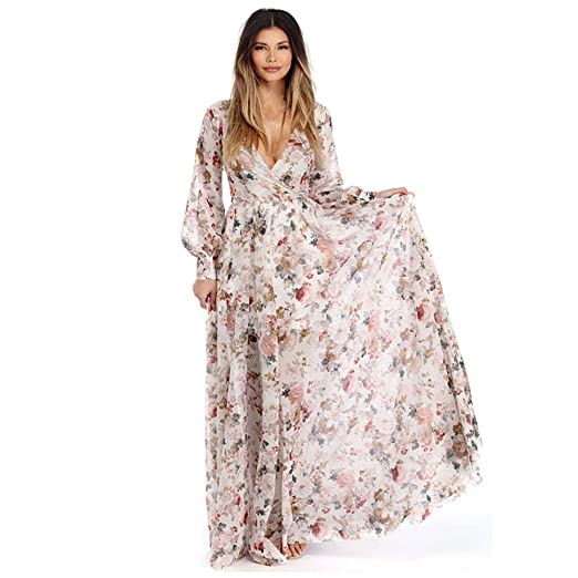 AMOFINY Women Summer Chiffon V Neck Floral Beach Party Maxi Long Dresses  Loose (Beige 1eec28a756dc
