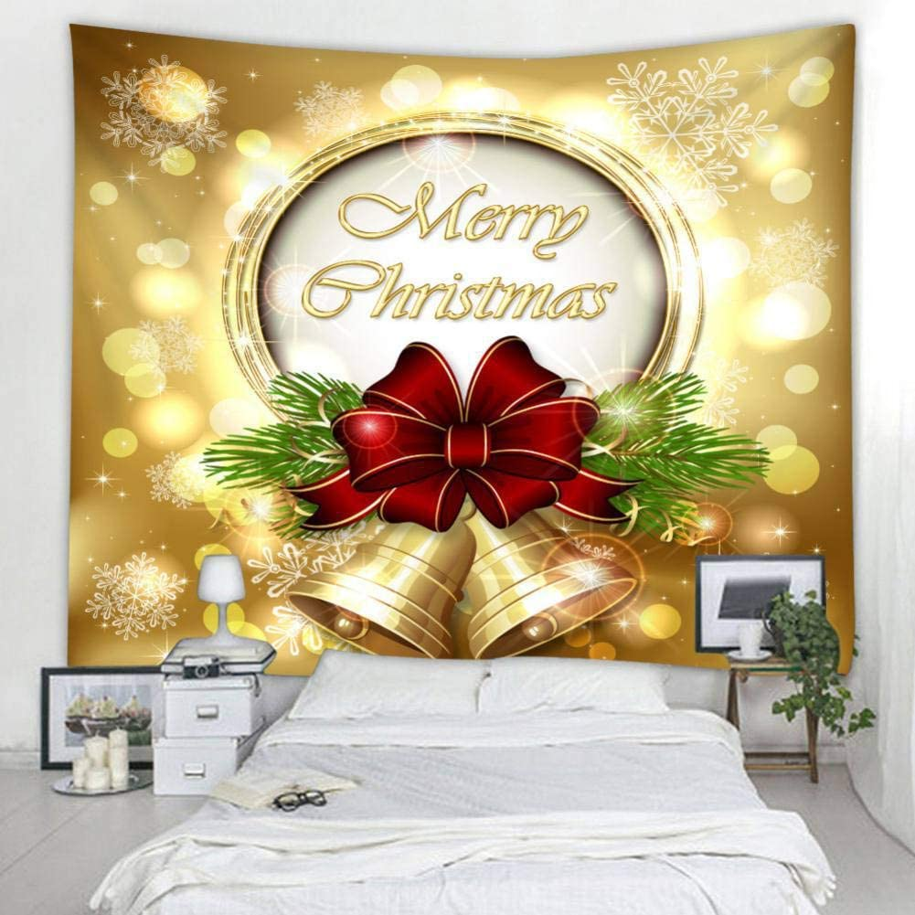 Christmas Bell Patgoal Wall Tapestry Christmas Wall Hanging Tapestries for Dorm Decor Bed Cover Bedding Picnic Blanket Curtain Beach Sheet