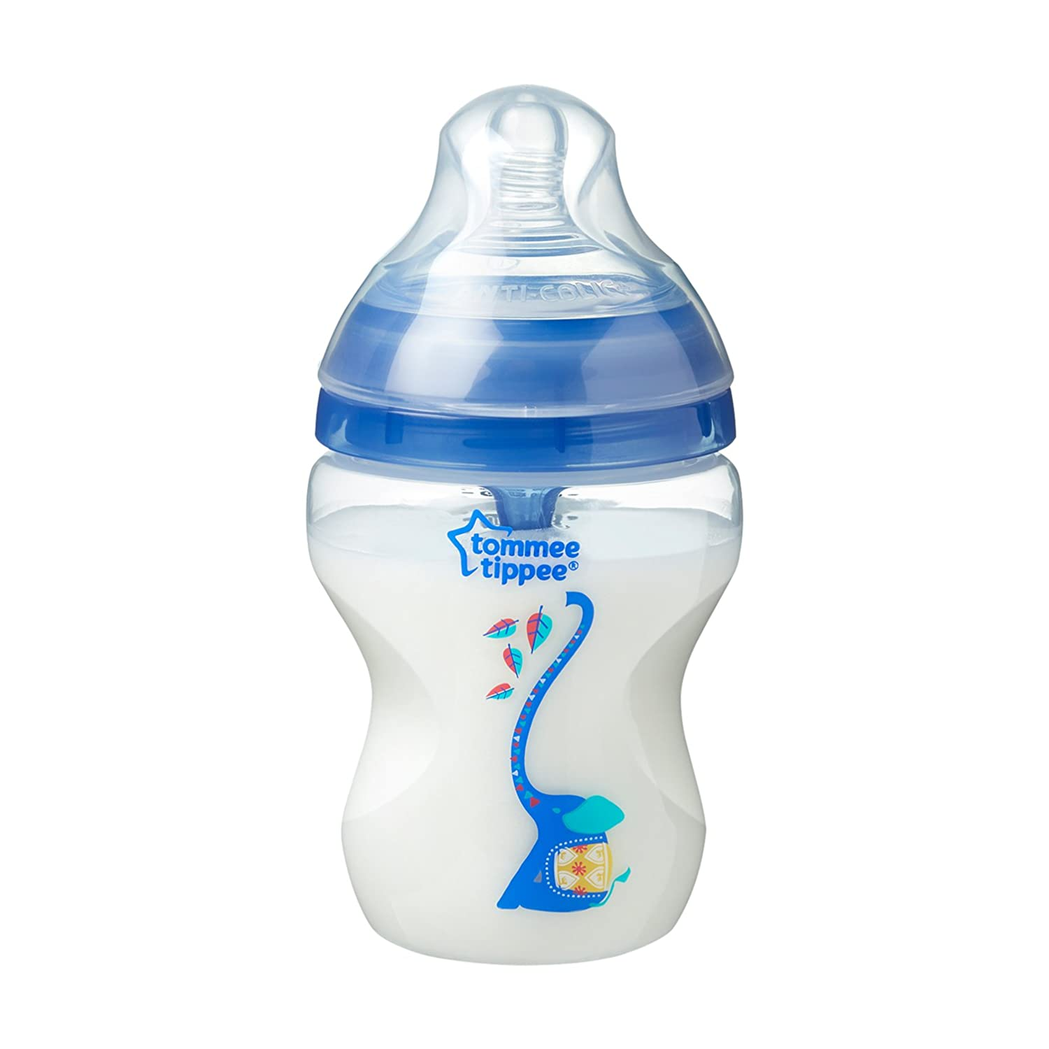 Heat-Sensing Technology 9 Ounce Tommee Tippee Advanced Anti-Colic Baby Bottle BPA-Free Slow Flow Breast-Like Nipple 2 Count Blue
