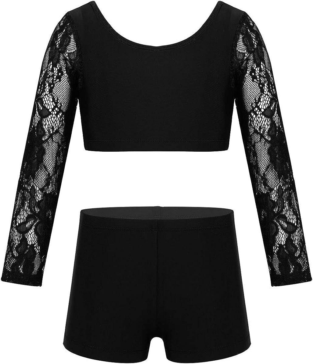 Girl Kids Dance Gym Dance Dress Gymnastics Leotard Crop Top+Shorts Dancewear Set