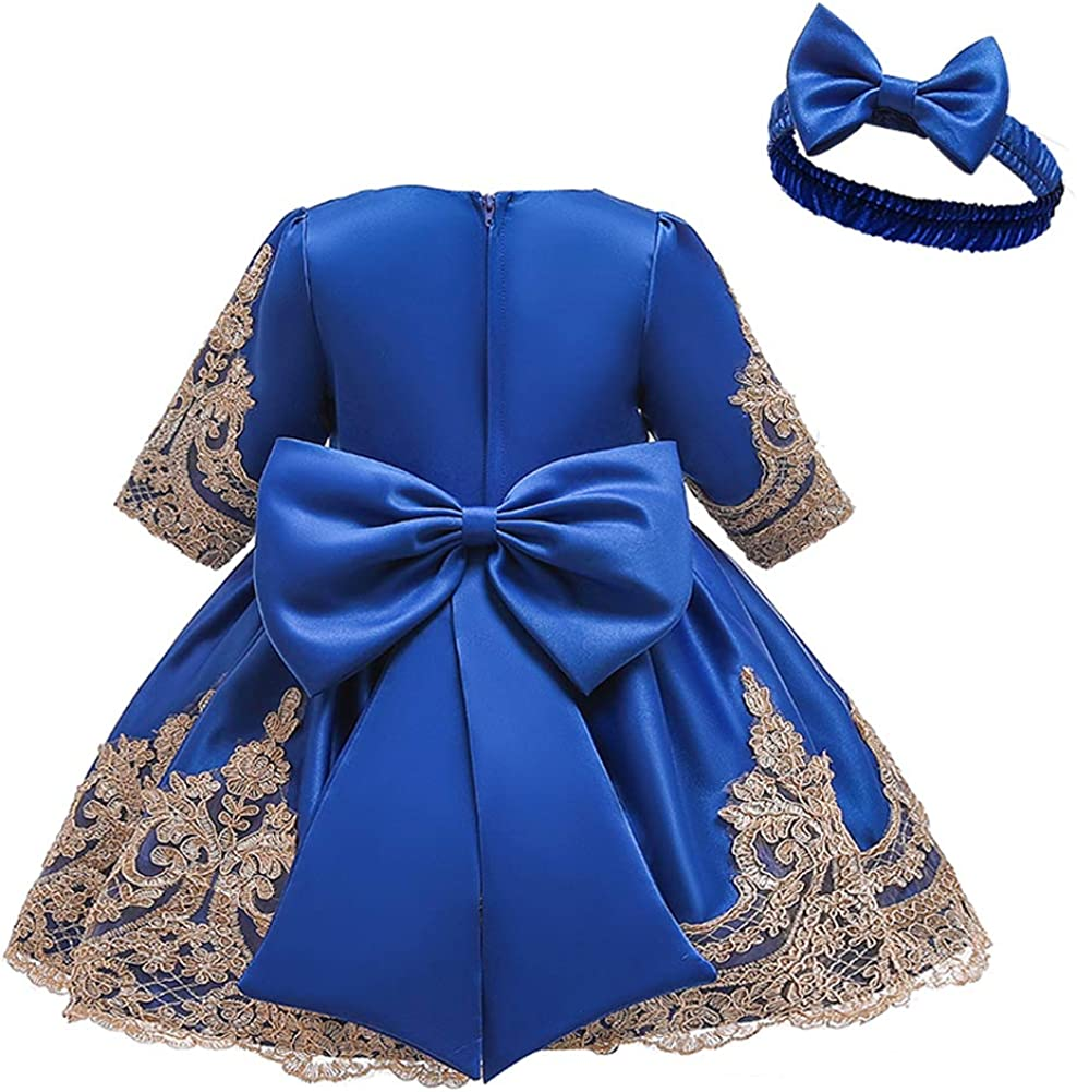 LZH Girl Dress Infant Embroidered Lace Party Wedding Flower Girl Bowknot Flower Dresses