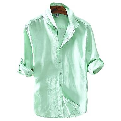 ICEGREY Herren Leinen Hemden Beiläufig Langarm Leinen Shirts Strand Hemden  Grün 40