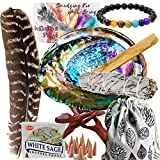 Smudge Kit Spiritual Set, Large Abalone Shell, Complete Sage Smudge Stick Kit, Palo Santo, White Sage Incense for Cleansing, Smudge Feather,Chakra Kit Bracelet, Charitable Positive Vibes Smudging Kit