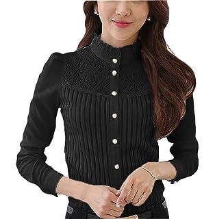 0c49eddb4 Smile fish Women Hollow Out Back Zipper Lace Long Sleeve Elegant Blouse