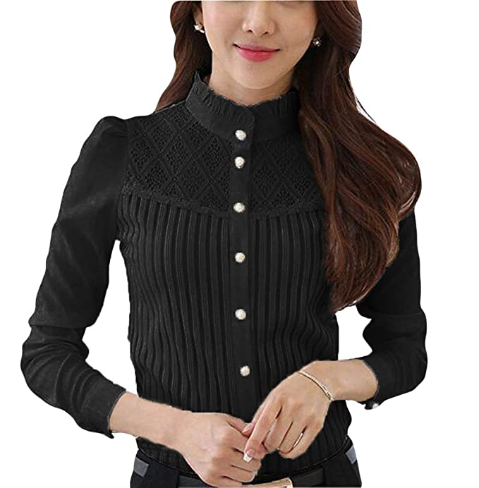 d58104b56c7 Smile fish Women s Vintage Collared Pleated Button Down Shirt Long Sleeve  Lace Stretchy Blouse (S