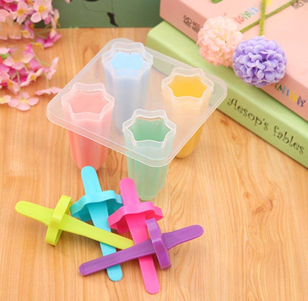 Moldes para Helados Casero, 4 Unidades Moldes Helados con Tapa Plástico para Hacer Paletas con Hielo, Yogur, Multicolores: Amazon.es: Hogar