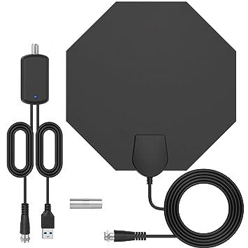 [Última versión ] Antena TV Interior-Bqeel Antena TV octágono portátil HDTV Digital con Amplificador de señal Inteligente para Canales de TV 1080P 4K ...