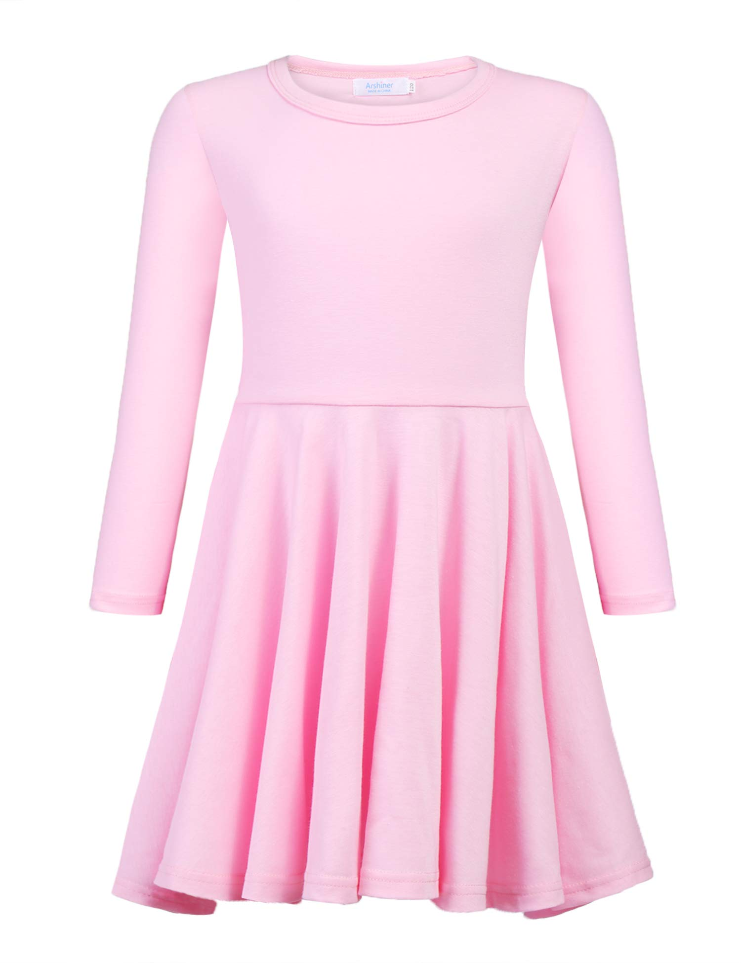 Arshiner Girls' Cotton Long Sleeve Twirly Skater Party Dress, Pink, 9 Years