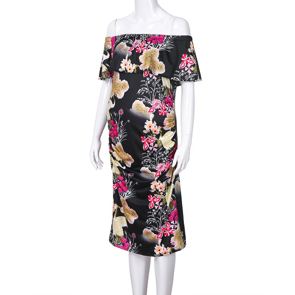 edaae9f36c363 Vanvler Maternity Dress Clearance! { Pregnant Ruffle Off-Shoulder Dress } Floral  Clothes Sexy (Black, M): Amazon.com: Grocery & Gourmet Food