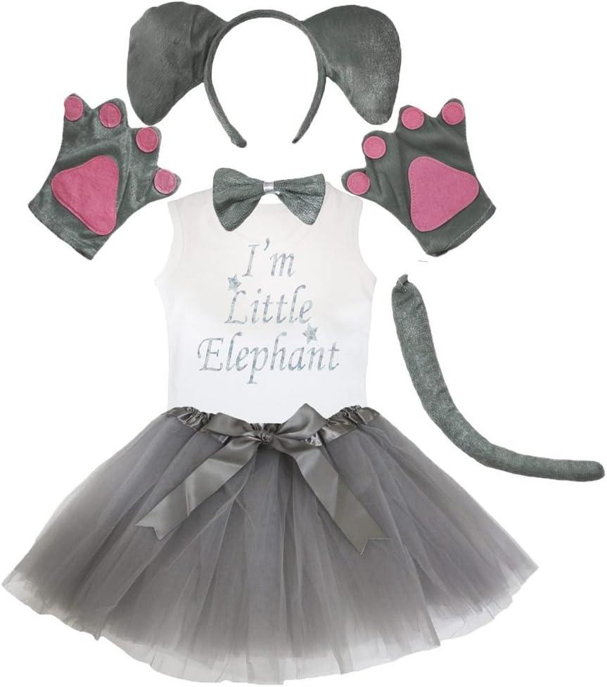 Petitebelle Cinta de cabeza de elefante de la pata cola arco camisa de gasa Falda Set 6 piezas Niños Talla Gris: Amazon.es: Bebé