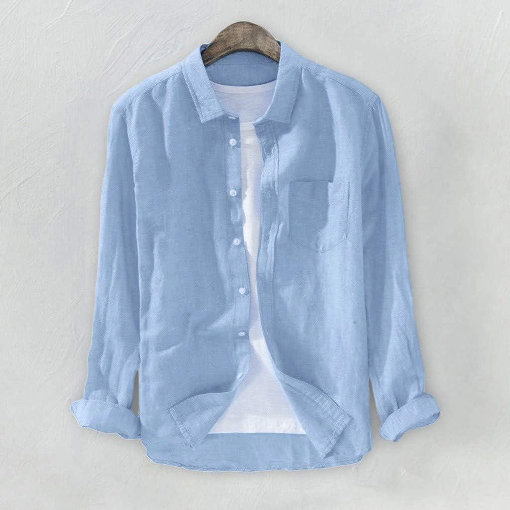 Miuye yuren-Men Linen Shirt Casual Autumn Plus Size Solid Color Button Blouses Tops