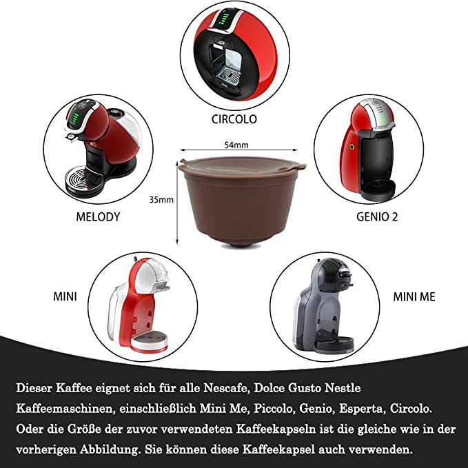 Lezed Coffee Capsules Reusable Filter Pods Refillable for Dolce Gusto Compatible Coffee Capsules Filter Cups for Dolce Gusto Coffee Machine 3 PCS with 1 Plastic Spoon and 1 Cleaning Brush